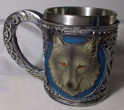 Picture of Alpha Gray Wolf Celtic Tribal Magic - Resin 16 oz Mug With Stainless Steel Rim