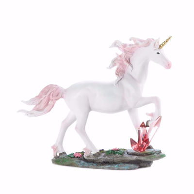 Picture of Unicorn with Pink Mane walking through Crystals Figurine