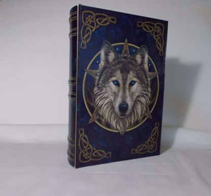Picture of Decorative Wooden Book Box By Designer Lisa Parker Celtic Wolf The Wild One