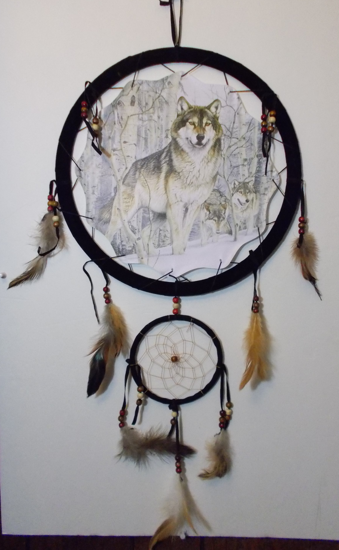 Picture of Wolf pack winter Mandala Scene - Dreamcatcher - by Al Agnew