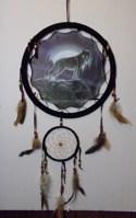 Picture of Wolf on Rock night with Moon Mandala Scene - Dreamcatcher - by Al Agnew