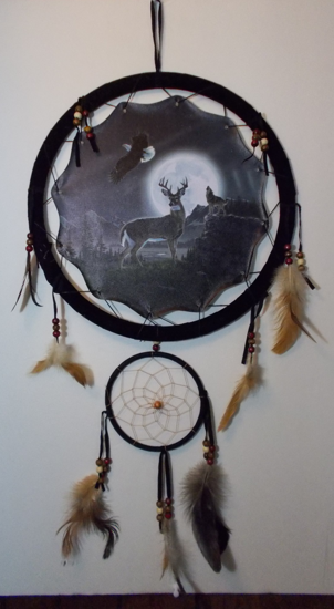 Picture of Deer, Wolf and Eagle - Night scene Mandala - Dreamcatcher - by Al Agnew