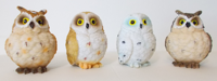 Picture of Cute Colorful Great Horned Forest Snowy & Northern Pygmy Owl Chicks Figurine Set Of 4