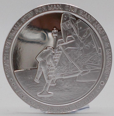 Picture of Apollo 11 One Small Step | 50th Anniversary - July 20, 1969 - July 20, 2019   (1 oz. Silver Proof Round) Coin | (Limited Numbered Edition)